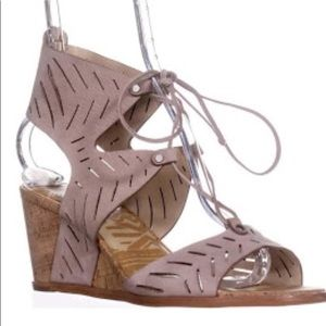 Dolce Vita tan lace up embellished wedge sandals